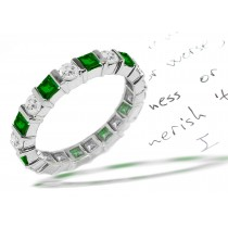Round Diamond Square Emerald Eternity Ring