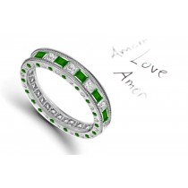 Breathtaking: Milgrain Princess Cut Diamond & Emerald Gold Halo Ring