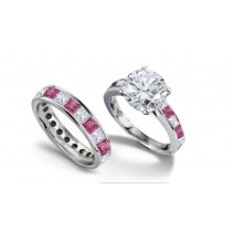 Round Diamond & Princess Cut Pink Sapphire & Diamond Engagement Ring & Wedding Wedding Band in 2 to 2.5 cts