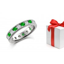 Vivacious: Deeply Saturated, Bright Green Emerald & Diamond Eternity Ring in 14k Gold