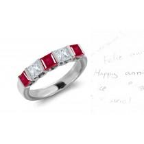 Five Stone Princess Cut Ruby & Diamond Ring