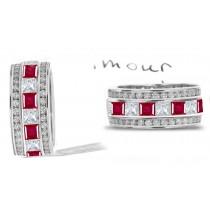 Brilliantly Produced Stacked Ruby Diamond Eternity Wedding Ring