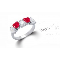 Heart Shaped Red Ruby & Diamond Half Eternity Rings in Gold or Platinum