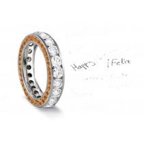 Micro pave Halo Brilliant Round Diamond & Vivid Yellow Sapphire Eternity Rings