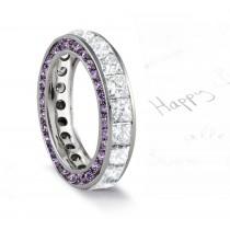 Micro pave Halo Round & Princess Cut Diamond & Purple Sapphire Eternity Rings