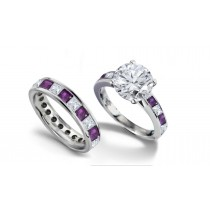 Round Diamond & Princess Cut Purple Sapphire Diamond Engagement Ring & Wedding Wedding Band in 2 to 2.5 cts