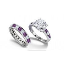 Round Diamond & Princess Cut Purple SapphireDiamond Engagement Ring & Wedding Wedding Band in 2 to 2.5 cts
