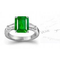 A Complete Display: Popular & Fashionable: Emerald Timeless Classic 3 Stone Emerald Cut Emerald & Bullet Shape Diamond Ring in Platinum