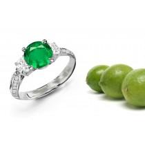 Intelligent Designs: This Complete Three Stone Ladies Diamond Hoop Ring Features Brilliant Round Diamonds & Cut Emeralds