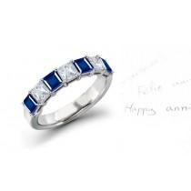 6 Stone Princess Cut Sapphire Diamond Gold Ring Size 3 to 9