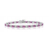Premier Designer Colored Gemstone Jewelry Collection: New Pink Sapphire & Diamond Bracelet in 18K White Gold