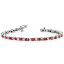Ruby Diamond Tennis Bracelets: Platinum Round Ruby and Diamond Tennis Bracelet