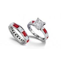 Princess Cut Diamond and BaguetteRuby Bridal Set
