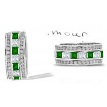 Prince & Princess: Princess Cut Emerald & Diamond Wedding 3 Gold Rings with Brilliant Green Emeralds