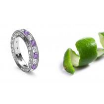 Switzerland Eternal Ice Intricate Hand Engraved Sapphire Diamond Rings