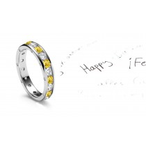 Unlock This Classic Yellow Sapphires & Diamonds Eternity Ring