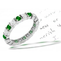 Princess Cut Diamond & Round Emerald Ring