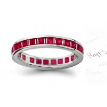 Dazzler: Perfectly Formed & Matched Square Ruby Eternity Ring in 14k Gold