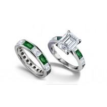 Emerald Cut Diamond & Baguette EmeraldRing & Matching Wedding Band