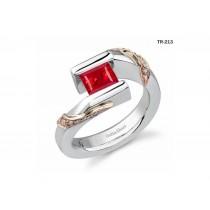 Princess Cut Ruby Gemstone Diamond Tension Set Engagement Rings