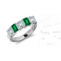 The Romance: Mens 5 Stone Bar Set Emerald Cut Emerald & Emerald Cut Diamond Ring