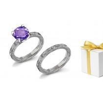 Designer:Engraved Purple Sapphire & White Diamond Ring