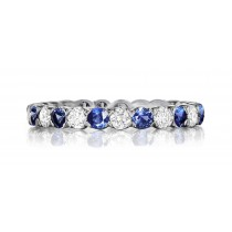 Lifetime of Love Eternity Band Ring With Round Cut Blue Sapphires & Diamonds