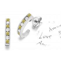 Premier Colored Diamonds Designer Collection - Yellow Colored Diamonds & White Diamonds Fancy Yellow Diamond Earrings