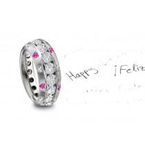 Burnish Set Heart Diamond & Blue Sapphire Rings