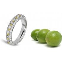 Premier Colored Diamonds Designer Collection - Yellow Colored Diamonds & White Diamonds Fancy Yellow Diamond Eternity Rings