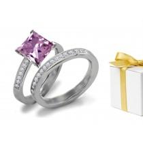 Purple Sapphire & Diamond Engagement & Wedding Ring