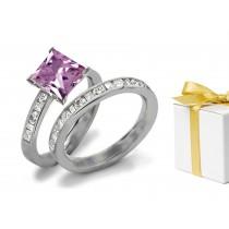 Diamond & Purple Sapphire Engagement & Wedding Ring