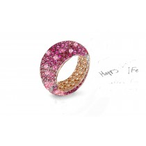High Quality Multi-Colored Diamonds & Precious Stones Eternity Band Rings