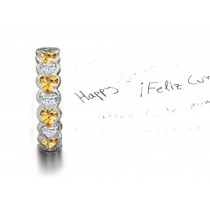 Heart Yellow Sapphires & Diamonds Eternity Ring Available in Many Sizes