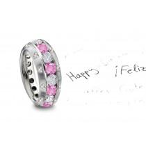 Burnish Set Heart Diamond & Pink Sapphire Rings