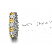 Heart Yellow Sapphires & Diamonds Eternity Ring Available For Shipping