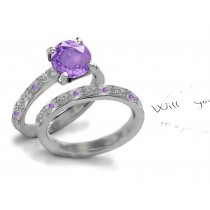 Premier Designer: Hand Engraved Lively Deep Rich Purple Sapphire Diamond Engagement Ring