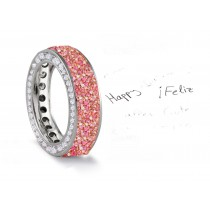 Made to Order French paveSet Brilliant Cut Round Diamonds & PinkSapphiresEternity Rings & Bands