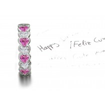 Heart Pink Sapphires & Diamonds Eternity Ring Available Today