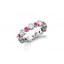 Precision Set Bezel SetRound Diamond & Pink Sapphire Eternity Band Rings
