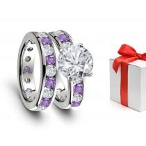 Elegant: Glittering Blue Sapphire & Diamond Engagement Rings & Wedding Rings Set