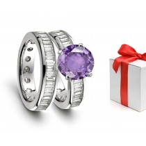 Perfection:Lively Rich Purple Sapphire & Sparkling Diamond Engagement & Wedding Rings