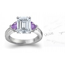 Side Heart Purple Sapphire & Diamond & Engagement Ring