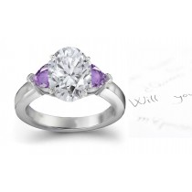 Lively Heart Purple Sapphire Diamond Engagement Ring