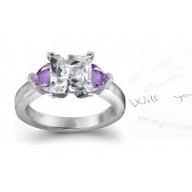 Heart Purple Sapphire Diamond Engagement Ring