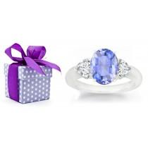 Side Heart Diamonds & Purple Sapphire Engagement Ring
