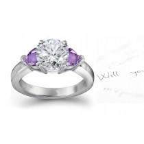 Heart Purple Sapphire & Diamond Round Engagement Ring