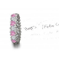 Brimming Heart Pink Sapphires & Diamonds Eternity Ring
