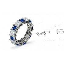 Vibrant Bar Set Princess Cut Sapphire and Diamond Eternity Band in 14k Gold