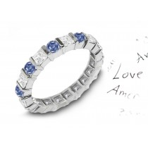 Premier Colored Diamonds Designer Collection - Blue Colored Diamonds & White Diamonds Fancy Blue Diamond Eternity Rings